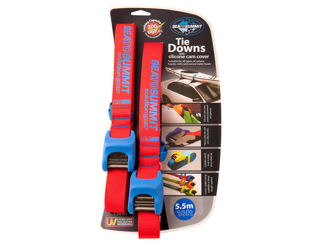 Sea to Summit Tie Downs with Silicone Cam Cover - 5,5 m Pair rouge/bleu